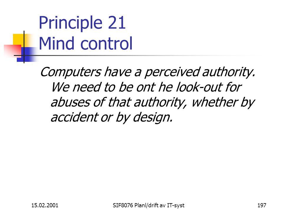 Principle 21 Mind control