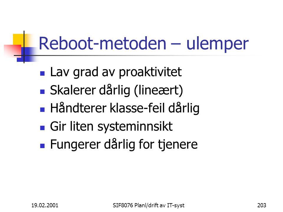 Reboot-metoden – ulemper
