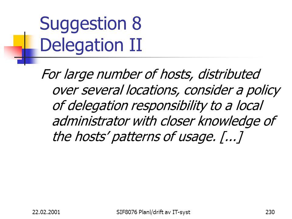 Suggestion 8 Delegation II