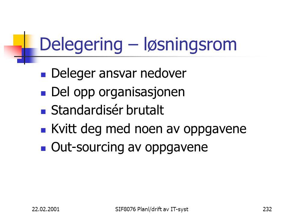 Delegering – løsningsrom