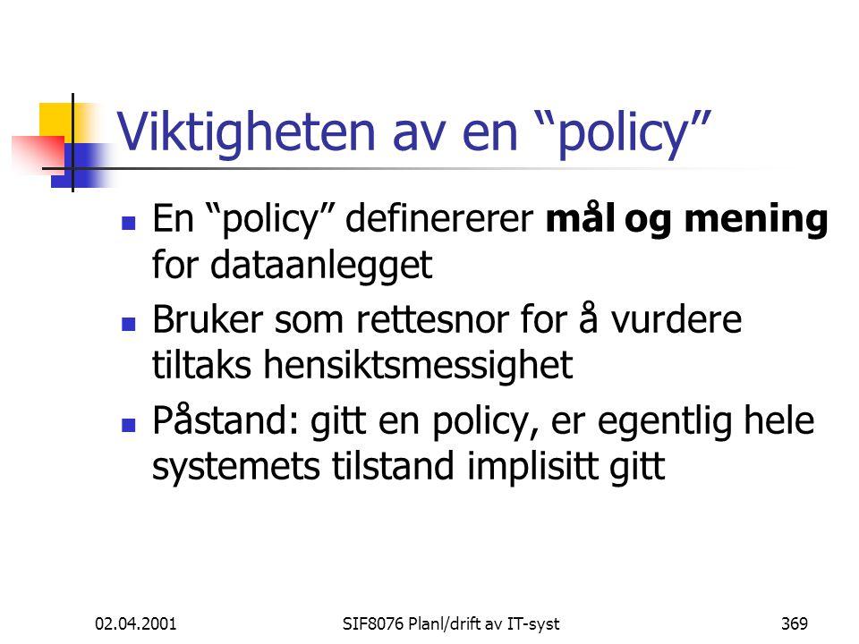 Viktigheten av en policy