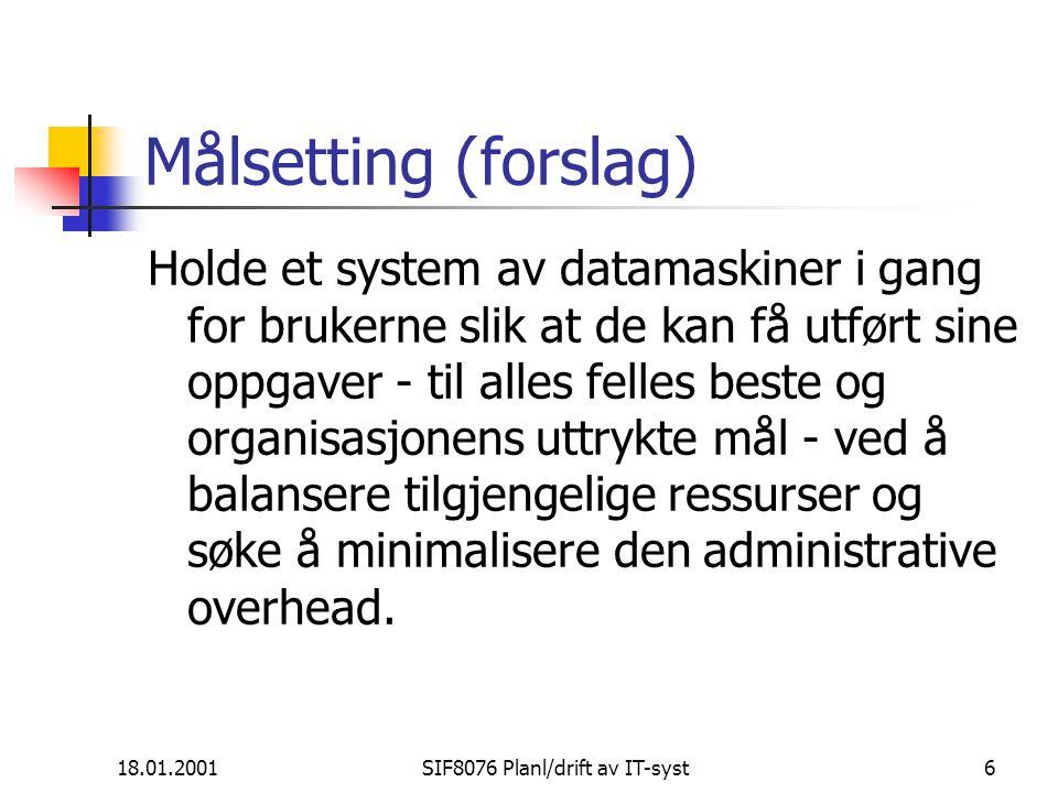 SIF8076 Planlegging og drift av IT-systemer