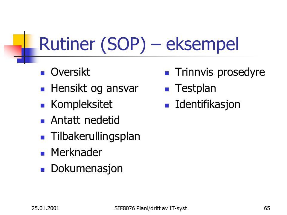 Rutiner (SOP) – eksempel