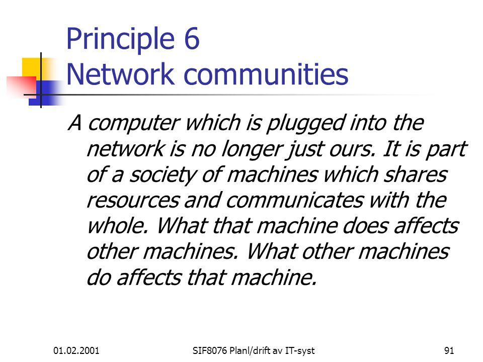 Principle 6 Network communities
