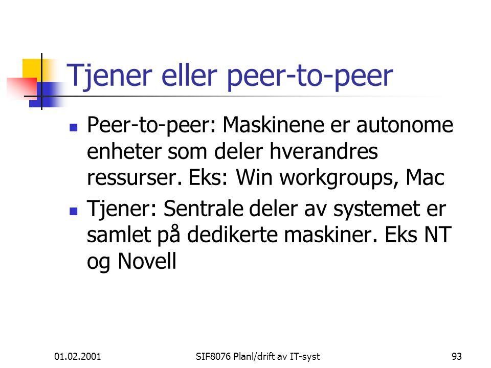 Tjener eller peer-to-peer