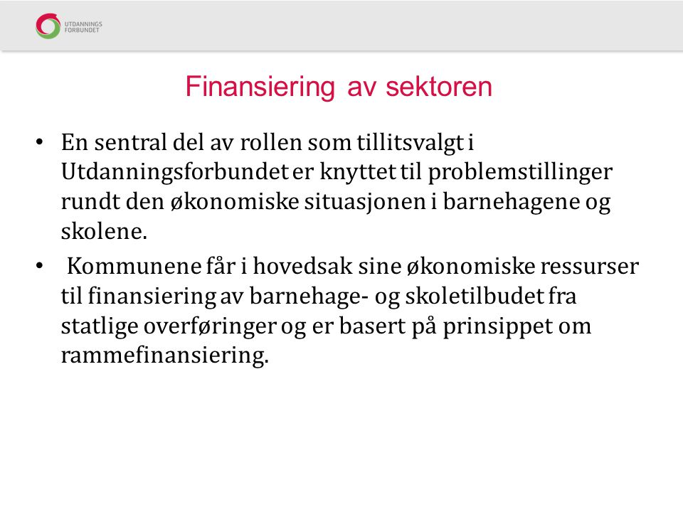 Finansiering av sektoren