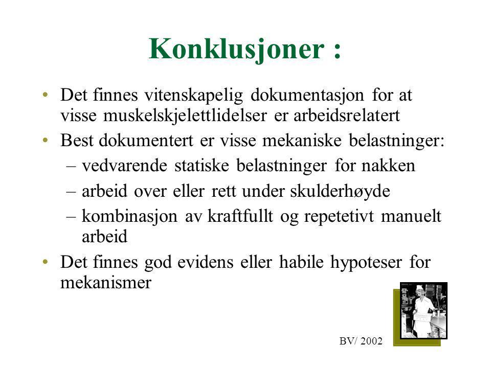Konklusjoner : Det finnes vitenskapelig dokumentasjon for at visse muskelskjelettlidelser er arbeidsrelatert.