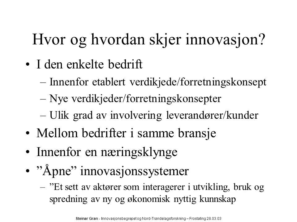 Hvor og hvordan skjer innovasjon