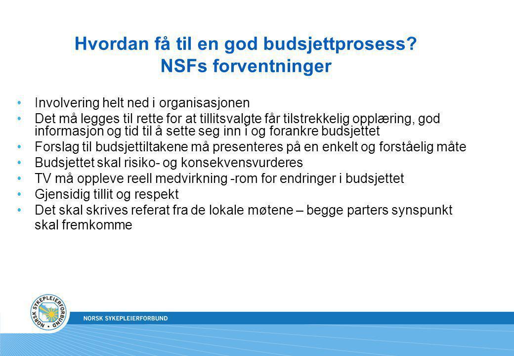 Hvordan få til en god budsjettprosess NSFs forventninger
