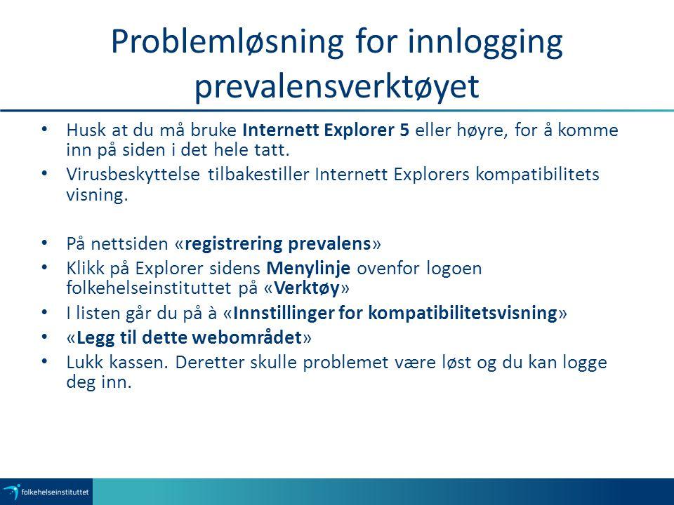 Problemløsning for innlogging prevalensverktøyet