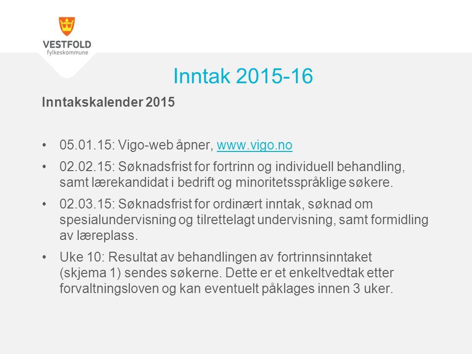 Inntak 2015-16 Inntakskalender 2015