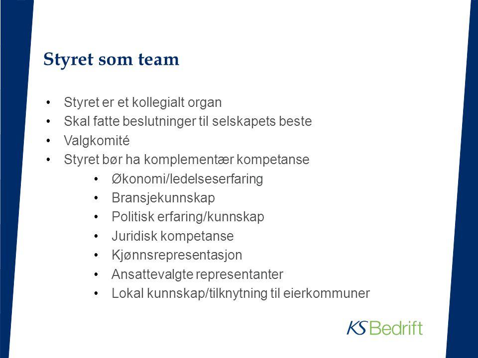 Styret som team Styret er et kollegialt organ