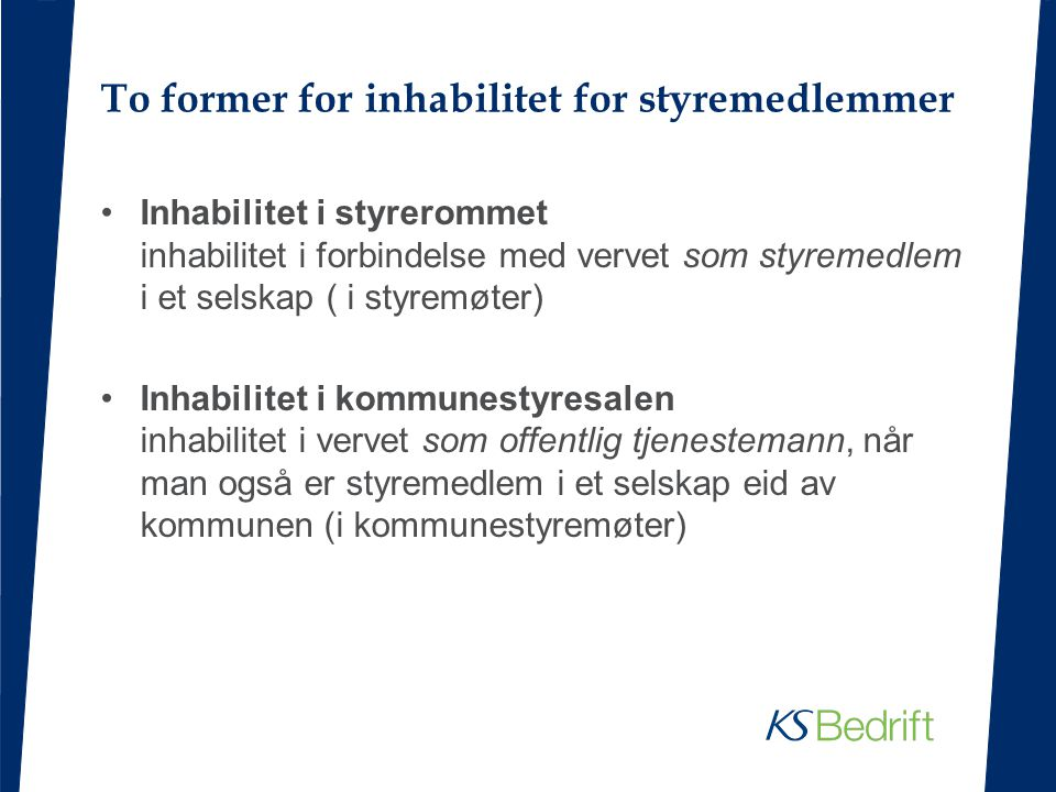 To former for inhabilitet for styremedlemmer