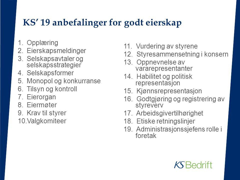 KS' 19 anbefalinger for godt eierskap