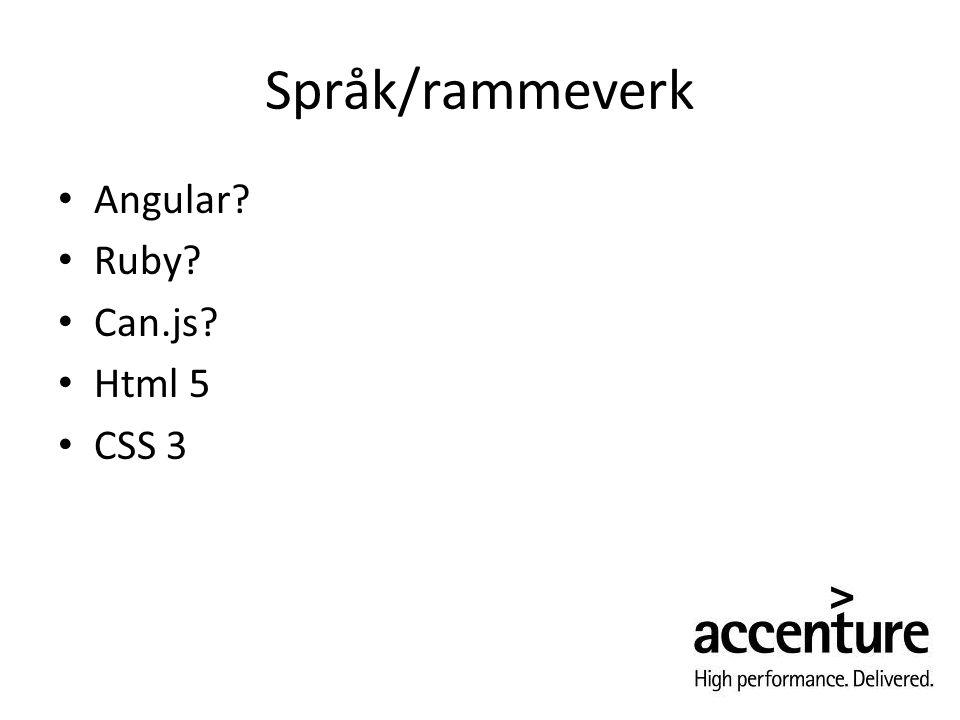 Språk/rammeverk Angular Ruby Can.js Html 5 CSS 3