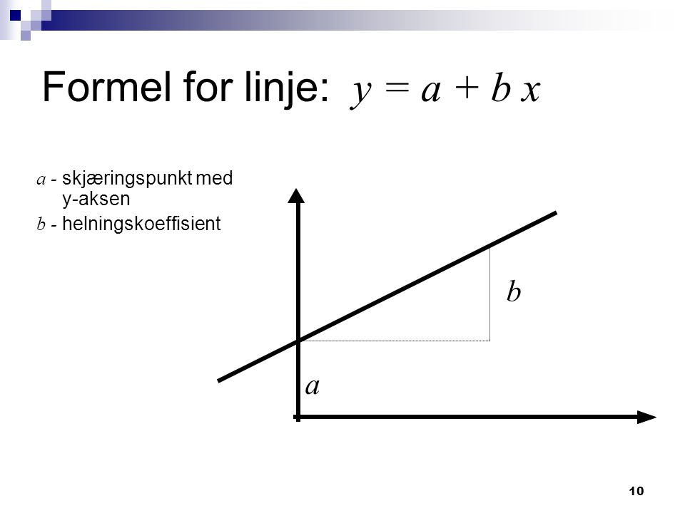 Formel for linje: y = a + b x