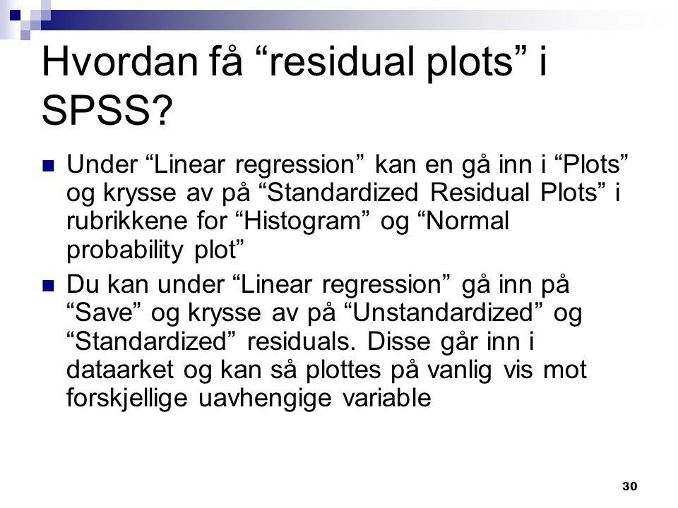 Hvordan få residual plots i SPSS