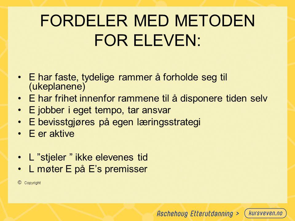 FORDELER MED METODEN FOR ELEVEN:
