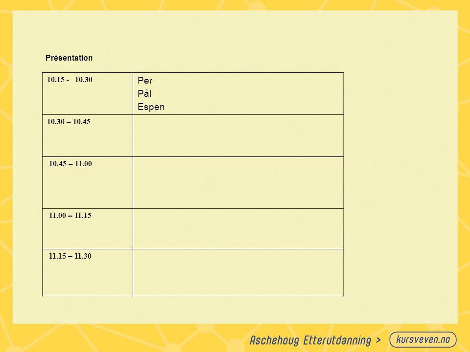 Per Pål Espen 10.15 - 10.30 Présentation 10.30 – 10.45 10.45 – 11.00