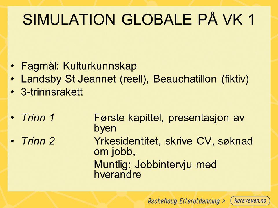 SIMULATION GLOBALE PÅ VK 1
