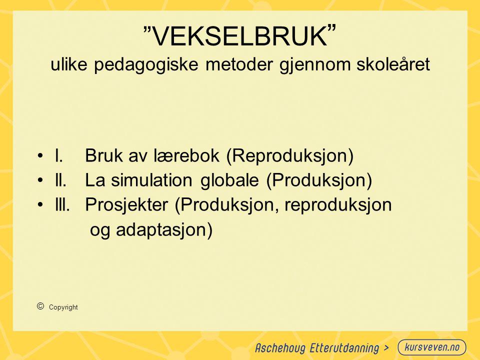 VEKSELBRUK ulike pedagogiske metoder gjennom skoleåret