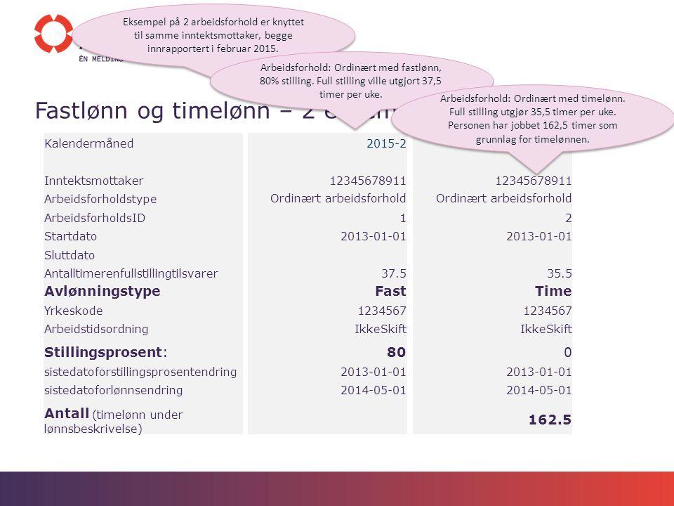 Fastlønn og timelønn – 2 eksempel