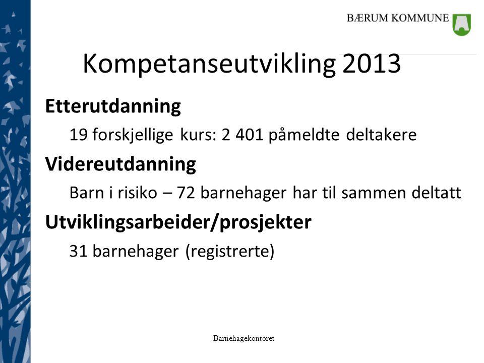 Kompetanseutvikling 2013 Etterutdanning Videreutdanning