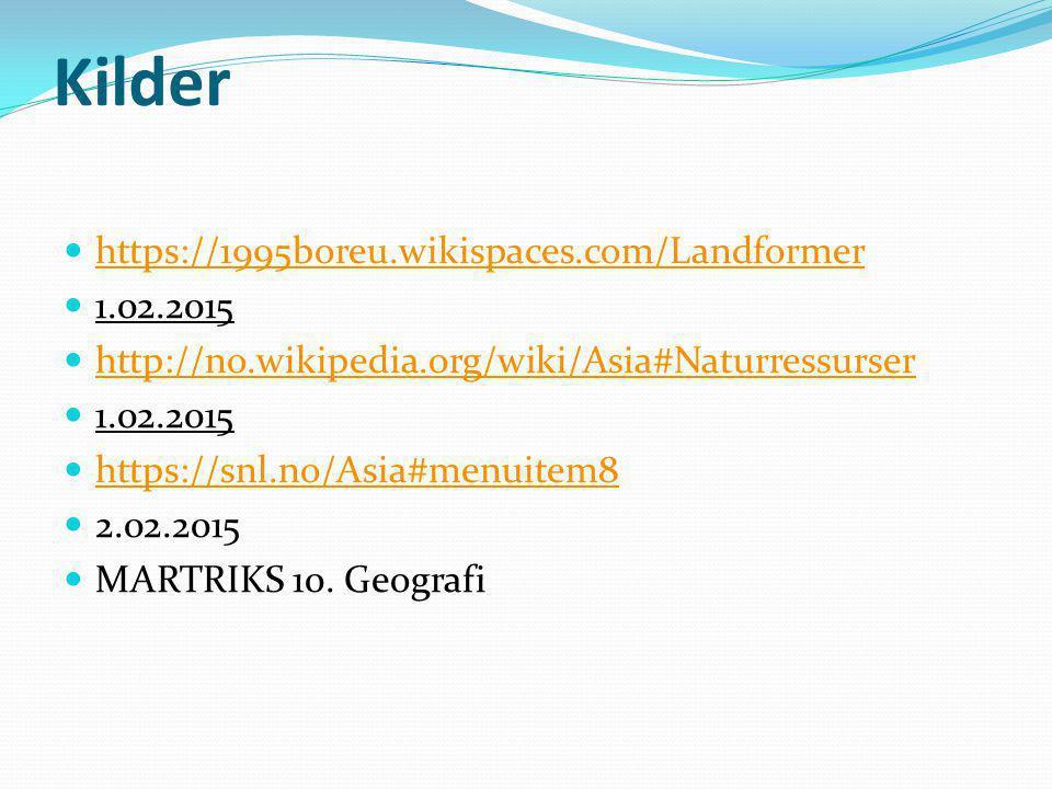 Kilder https://1995boreu.wikispaces.com/Landformer 1.02.2015