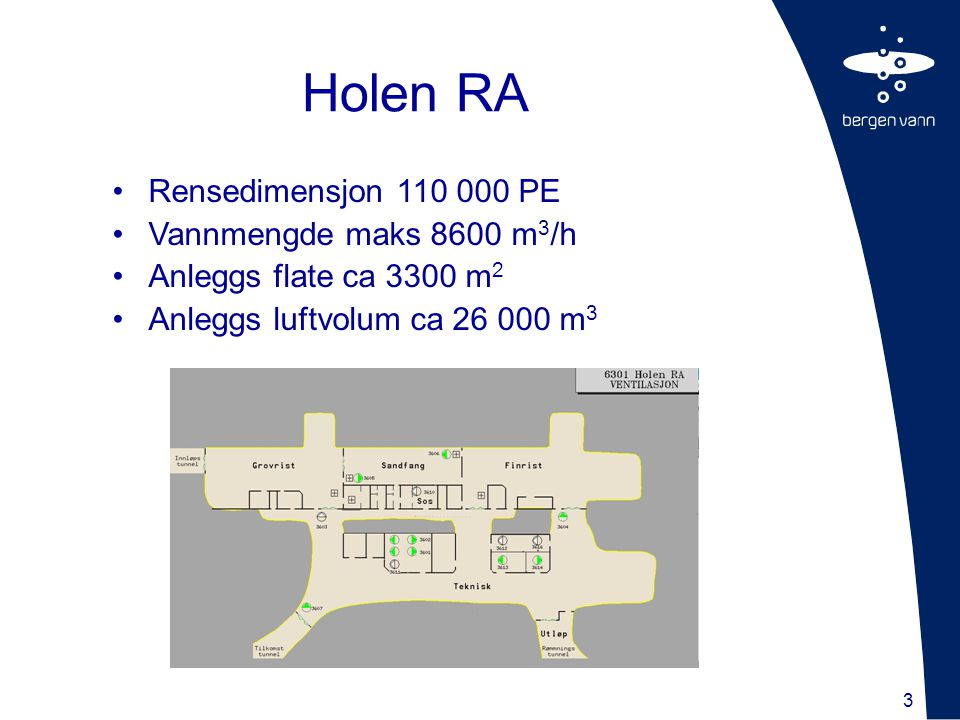 Holen RA Rensedimensjon 110 000 PE Vannmengde maks 8600 m3/h