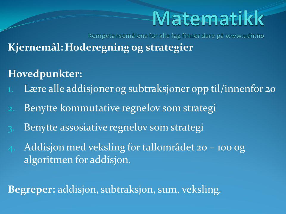 Matematikk Kompetansemålene for alle fag finner dere på www.udir.no