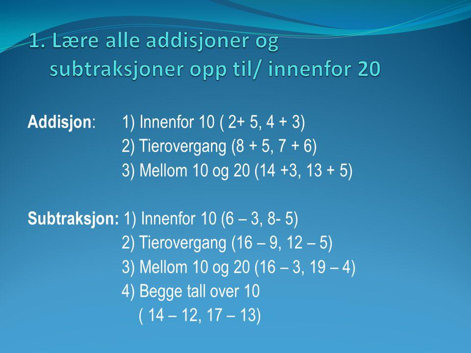 1. Lære alle addisjoner og subtraksjoner opp til/ innenfor 20