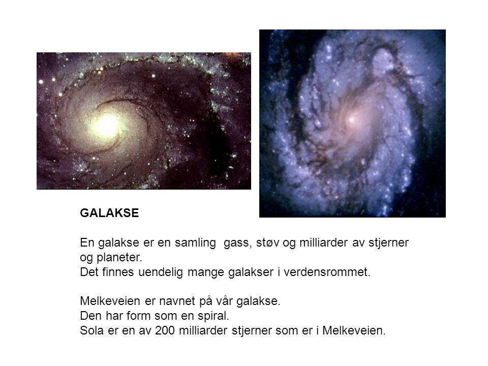 GALAKSE En galakse er en samling gass, støv og milliarder av stjerner og planeter. Det finnes uendelig mange galakser i verdensrommet.
