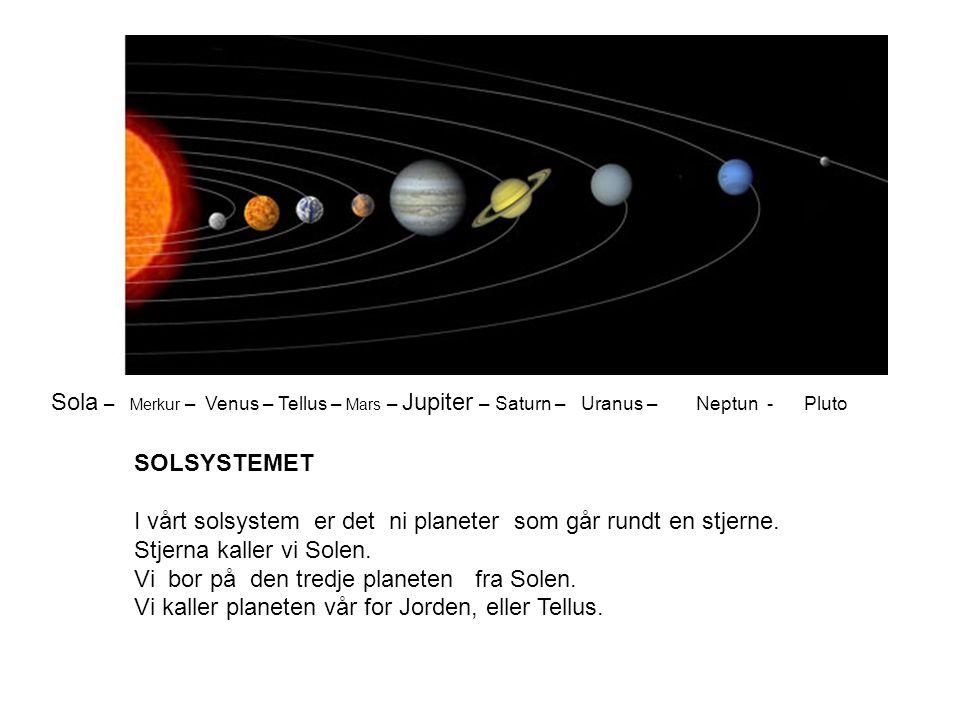 Sola – Merkur – Venus – Tellus – Mars – Jupiter – Saturn – Uranus – Neptun - Pluto