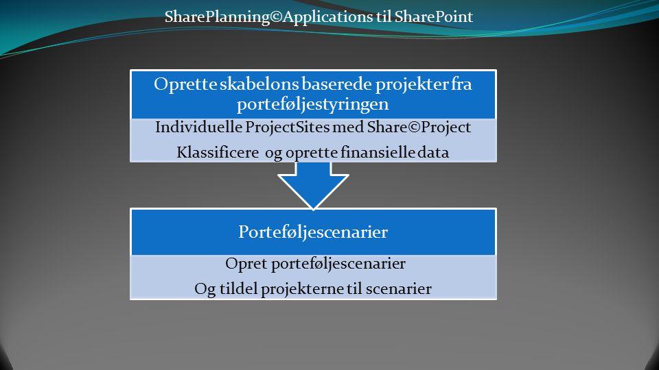 Oprette skabelons baserede projekter fra porteføljestyringen