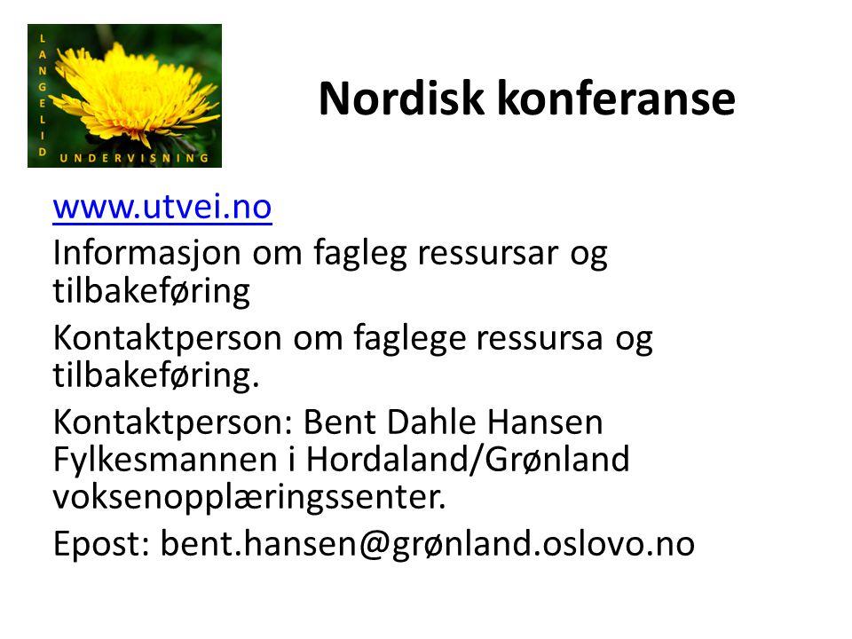 Nordisk konferanse www.utvei.no