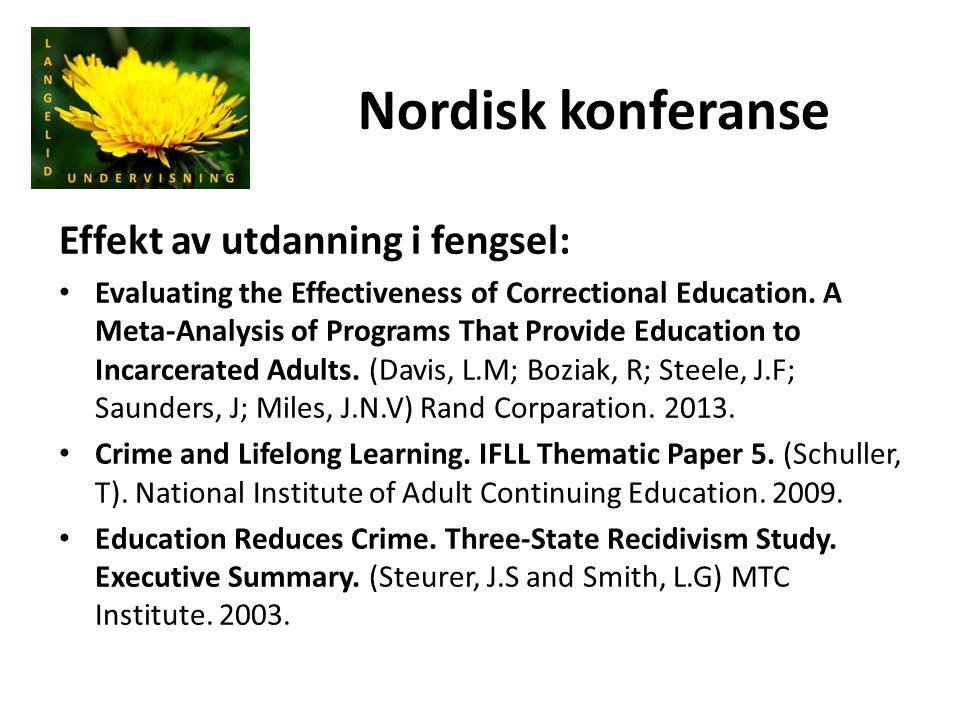 Nordisk konferanse Effekt av utdanning i fengsel: