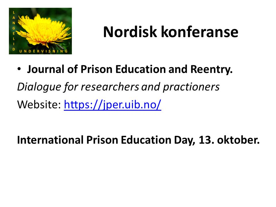 Nordisk konferanse Journal of Prison Education and Reentry.