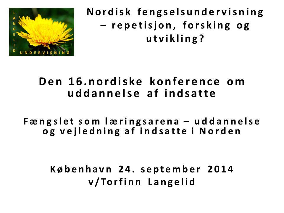 Nordisk fengselsundervisning – repetisjon, forsking og utvikling