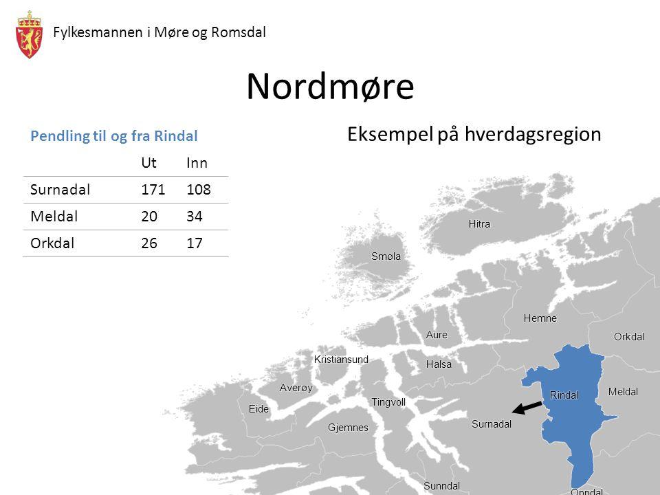 Nordmøre Eksempel på hverdagsregion Pendling til og fra Rindal Ut Inn