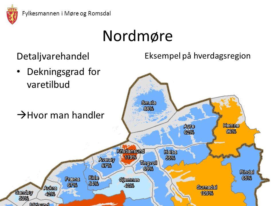 Nordmøre Detaljvarehandel Dekningsgrad for varetilbud Hvor man handler