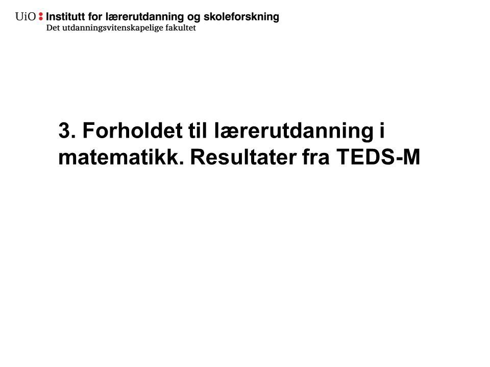 3. Forholdet til lærerutdanning i matematikk. Resultater fra TEDS-M