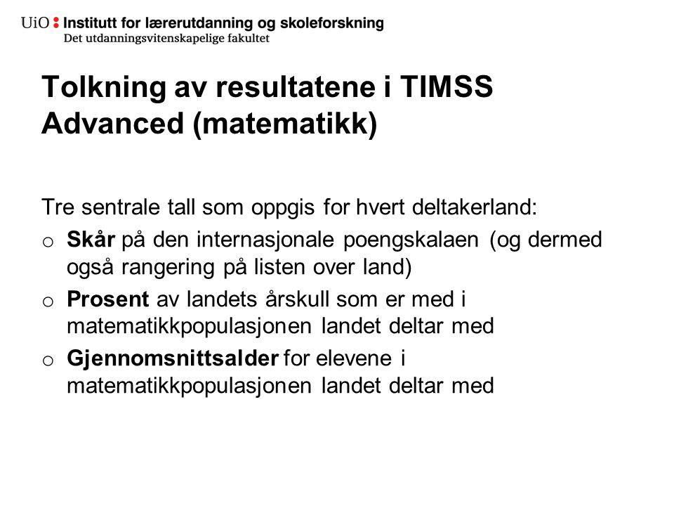 Tolkning av resultatene i TIMSS Advanced (matematikk)