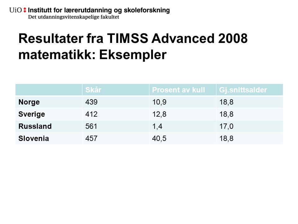 Resultater fra TIMSS Advanced 2008 matematikk: Eksempler