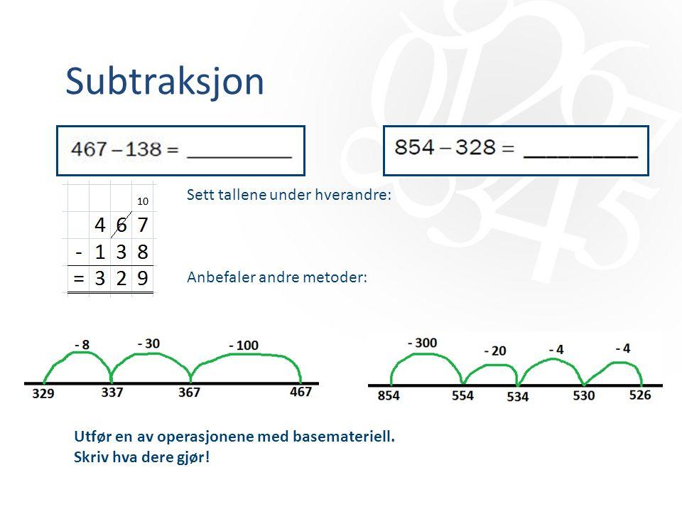 Subtraksjon Sett tallene under hverandre: Anbefaler andre metoder: