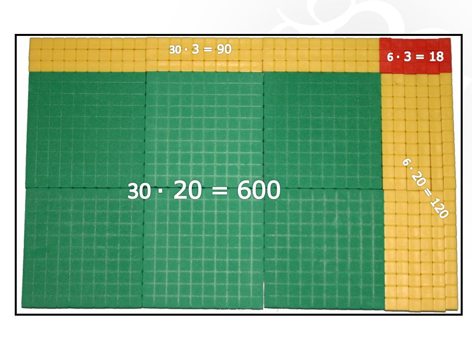 30 ‧ 3 = 90 6 ‧ 3 = 18 30 ‧ 20 = 600 6 ‧ 20 = 120