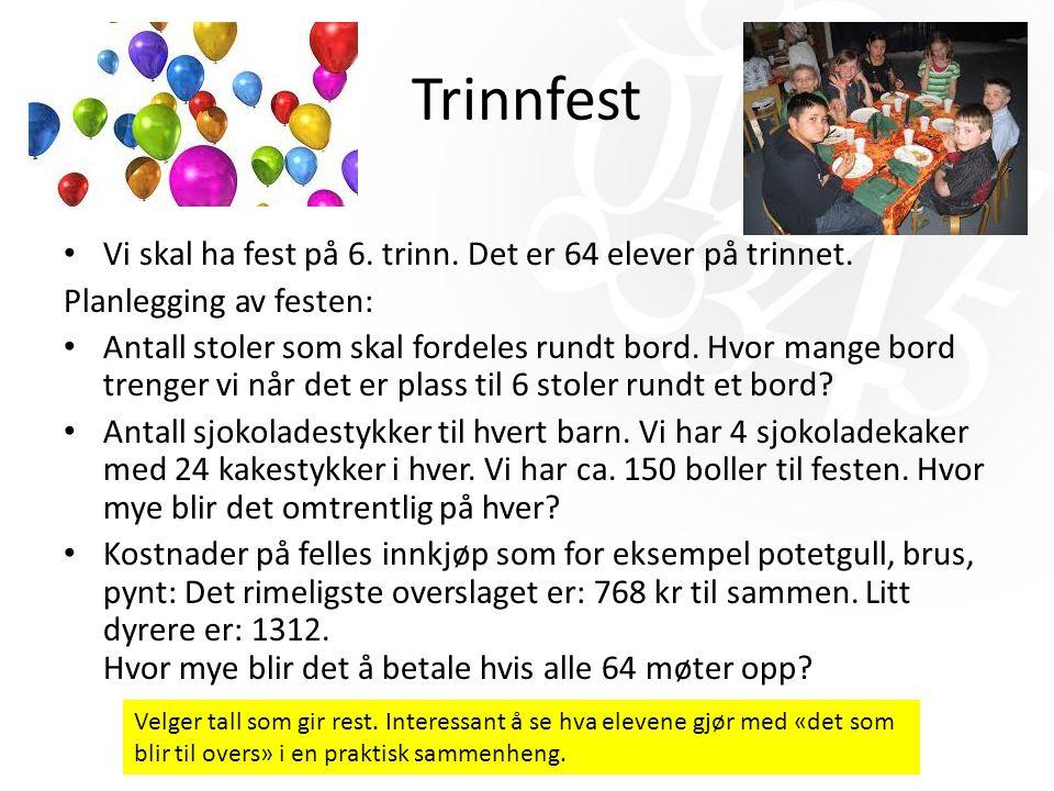 Trinnfest Vi skal ha fest på 6. trinn. Det er 64 elever på trinnet.