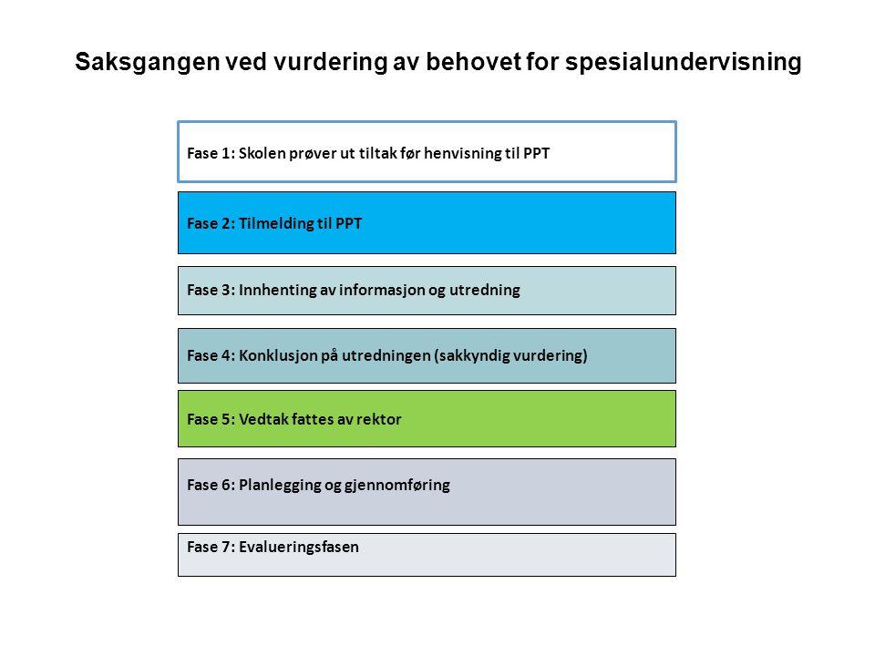 Saksgangen ved vurdering av behovet for spesialundervisning