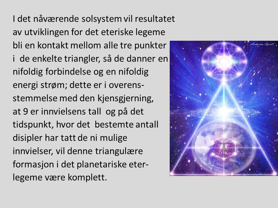 I det nåværende solsystem vil resultatet av utviklingen for det eteriske legeme bli en kontakt mellom alle tre punkter i de enkelte triangler, så de danner en nifoldig forbindelse og en nifoldig energi strøm; dette er i overens- stemmelse med den kjensgjerning, at 9 er innvielsens tall og på det tidspunkt, hvor det bestemte antall disipler har tatt de ni mulige innvielser, vil denne triangulære formasjon i det planetariske eter- legeme være komplett.
