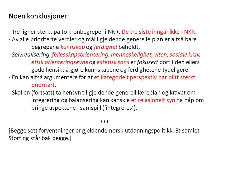 Noen konklusjoner: - Tre ligner sterkt på to kronbegreper i NKR. De tre siste inngår ikke i NKR.