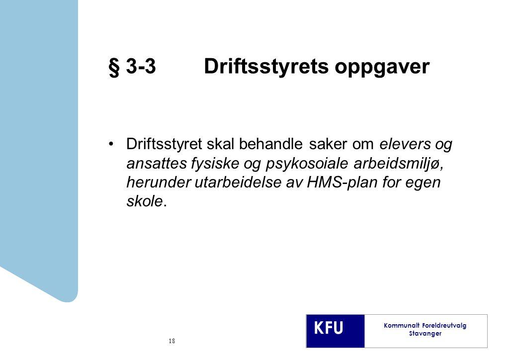 § 3-3 Driftsstyrets oppgaver